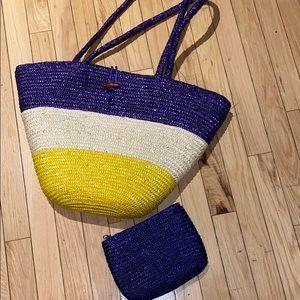 Woman's Woven Blue/Yellow/Tan Beach Tote Bag Set